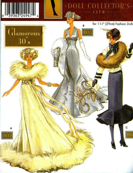"""WOW! 11½"""" DOLL COLLECTORS GLAMOROUS 1930s CLOTHES SEWING PATTERN Simplicity 9704"""