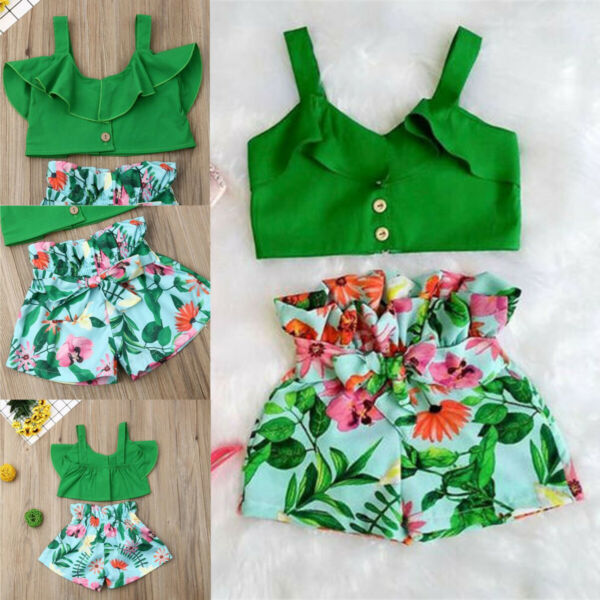2PCS Kids Baby Girls Toddler Outfit Clothes Summer T-shirt Tops+Pants Shorts Set