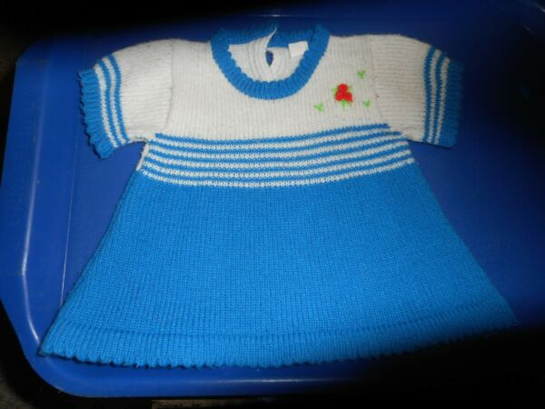 KNIT SWEATER DRESSDOLL OR BABY SIZEPILING ON DRESSSTILL A NICE LOOKING DRESS