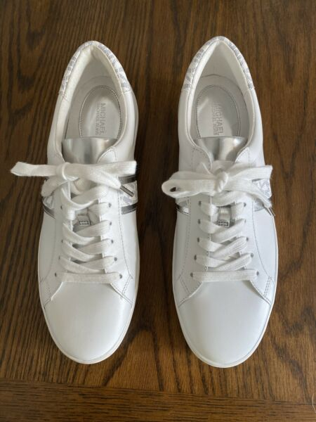 MICHAEL KORS IRVING STRIPE LACE UP LEATHER FASHION SNEAKERS WHITE/SILVER  9.5