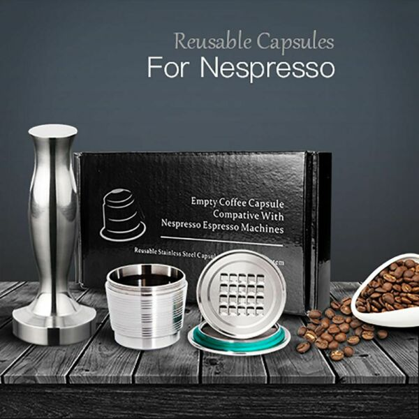 Reusable Coffee Capsule Pod Stainless Steel Filter Nespresso Refillable Pods