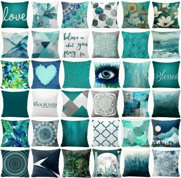 Cushion COVER Teal Blue White Double Sided Decorative Throw Pillow Case 18x18quot;