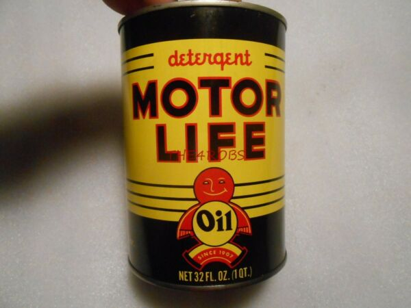 Vintage Motor Life Motor Oil Empty Quart Can Chicago Very Nice #3