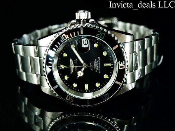Invicta Men#x27;s 40mm Pro Diver SUBMARINER AUTOMATIC NH35A BLACK DIAL Silver Watch $84.99
