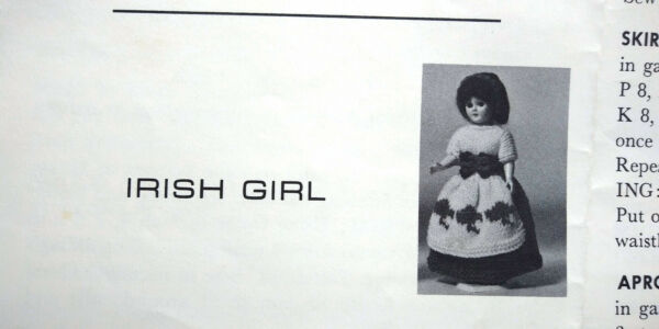 SHE'S A DOLL PAK Bernat Knit Dress Patterns Only Irish Hawaiian Dutch Indian
