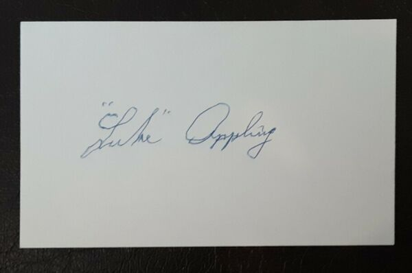 Luke Appling Autograph Signed Index Card Chicago White Sox