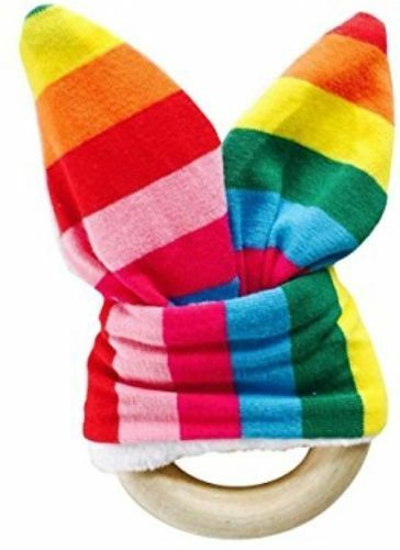 NEW Natural Wooden TEETHING Ring With MINKY Fabric Bunny Ears Rainbow Stripe