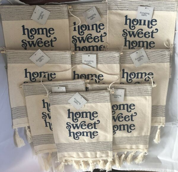 Lot of 9 Hanging Signs Burlap Home Sweet Home w Tassels  9quot; X 7quot;.