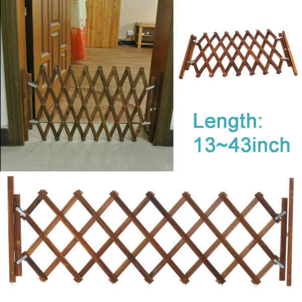 Folding Wood Baby Gate Fence Safety Protection Pet Dog Barrier Standing Door $27.99