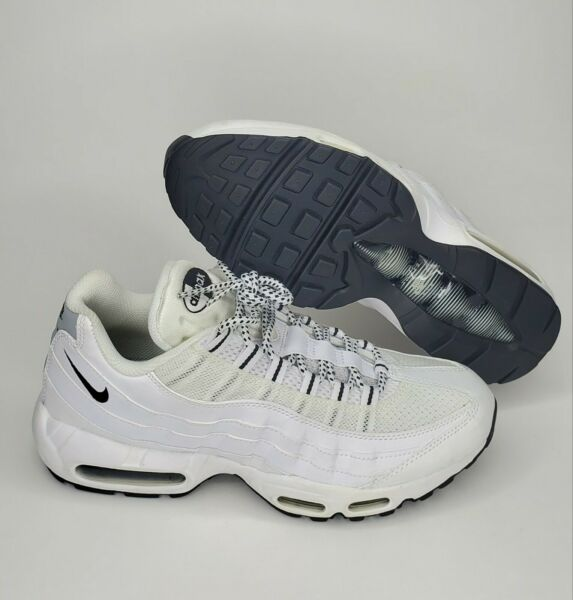 Nike Men's Air Max 95 Running Sneakers Leather White Black Size 9
