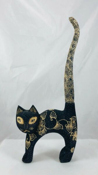 Vintage Carved Wood Material Covered Cat w Long Tail Up Figurine Swirls Dots $22.99