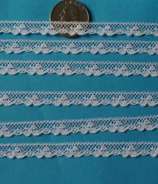 ~  DOLL HEIRLOOM SEWING  M PULLEN SMOCKING TINY CLOVERS FRENCH COTTON LACE 2Y ~