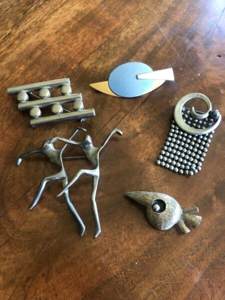5pc Lot Vintage Jewelry Silver Modernist Brooch Pins Unsigned