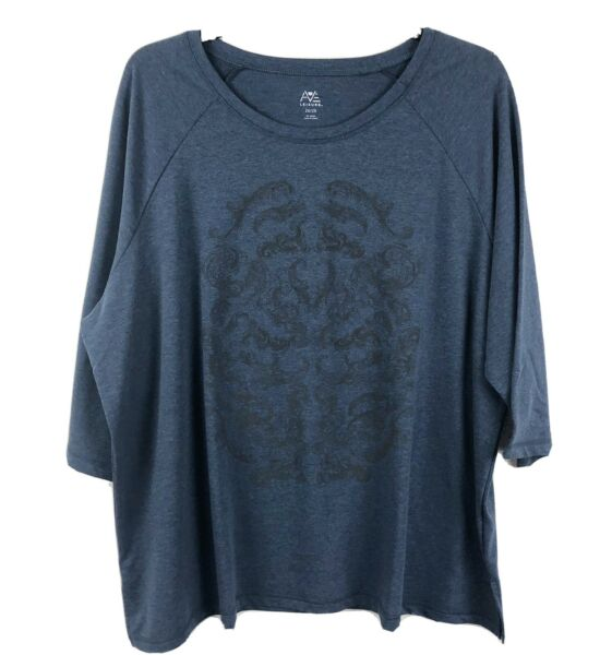 Avenue Leisure French Terry Sweatshirt Top Size 2628 Blue 34 Sleeves NEW $12.99
