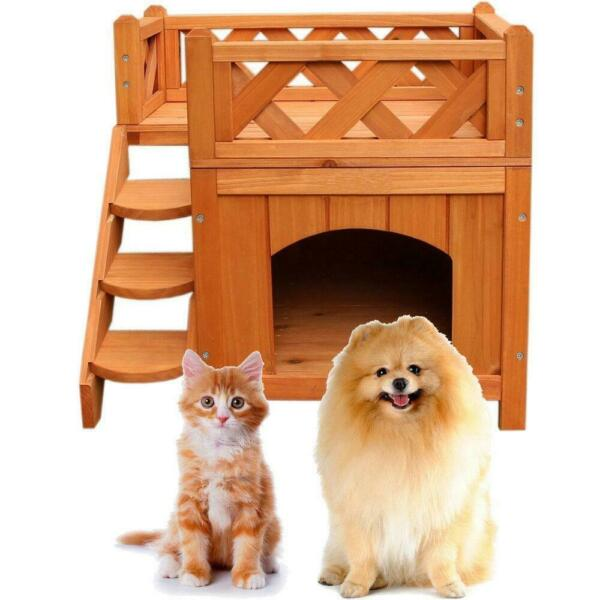 Pet Wooden Small House Kennel With Play Sleep indoor Cat Shelter 2 Layers Wood $39.99