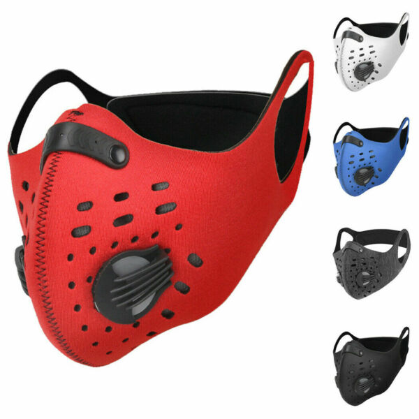 Sport Mask Cycling Face Mask Neoprene Breathable valves Strap w filter Airsoft