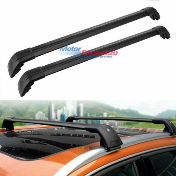 Top Roof Rack Rail Cross Bar For Nissan Kicks 2017 19 Black Baggage Crossbar $65.85