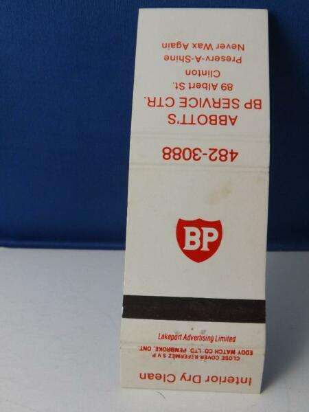 BP OIL GAS ABBOT#x27;S SERVICE STATION CLINTON ONT MATCHBOOK OLD CANADA ADVERTISING