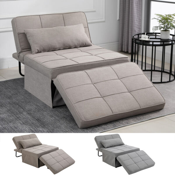 2 Person Convertible Sofabed with Adjustable Backrest Footstool for Living Room $269.99