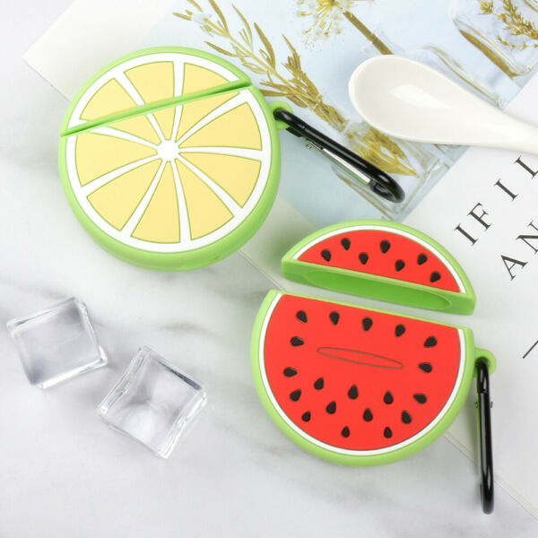 Funny Watermelon Lemon Shockproof Soft For Apple Airpods 2 1 Charging Case Cover $7.59