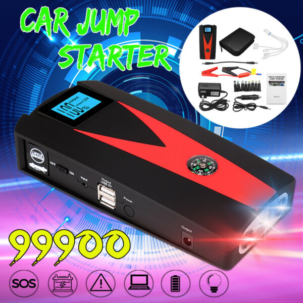 Us In 99900mAh LED Car Jump Starter 2USB Charger Battery Power Bank Booster 12V