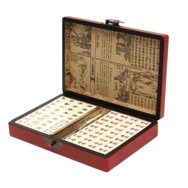Bamboo Mini Rare Chinese Mah Jong 144 Tiles With Portable Retro Mahjong Box Set $23.56