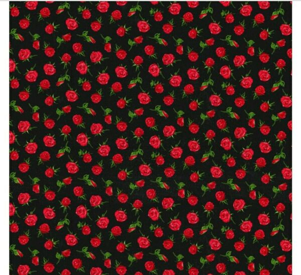Calico Red Roses On Black Cotton Fabric 12 Yard X 44