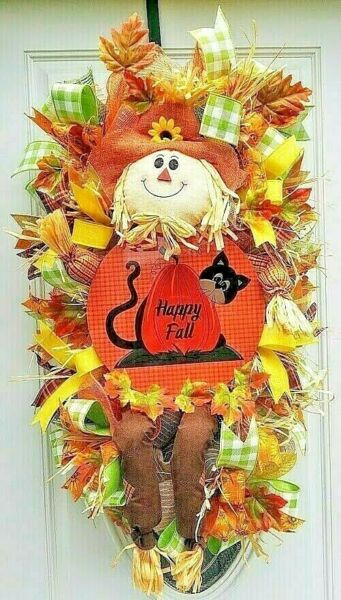 Happy Fall Swag Scarecrow Wreath for Fall Autumn Decor Harvest Decoration