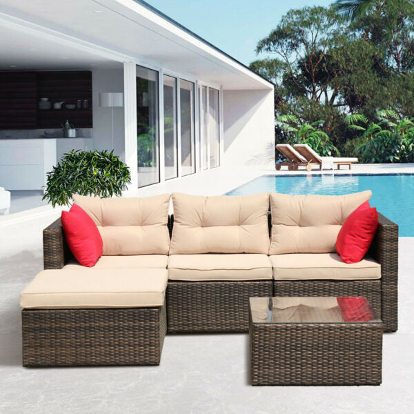 5PC Patio sets Outdoor Wicker Rattan Patio Furniture Conversation with Cushion