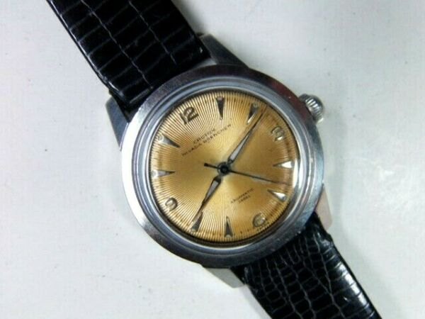 Vintage 17 j NIVADA GRENCHEN Swiss 360EL  AUTOMATIC SSteel NOS sign band CROTON $36.00