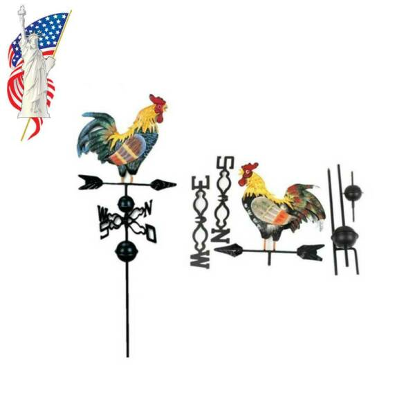 Farmhouse Country Rooster Metal Weathervane with Roof Mount $35.88