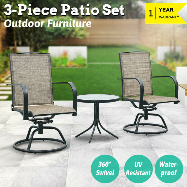 3 PCS Patio Furniture Swivel Bar Sets Textilene Bistro Table Chairs Garden Decor