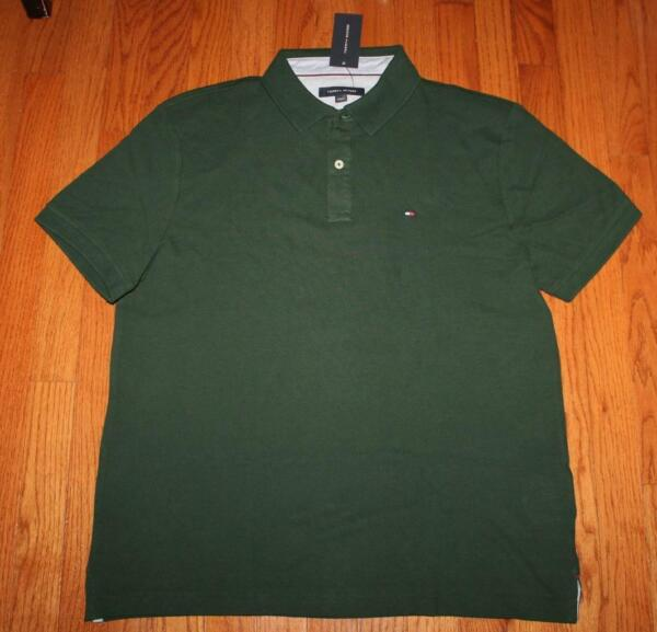 NEW NWT Mens Tommy Hilfiger Classic Fit Pique Polo Shirt Dark Green $49 *3N $19.99