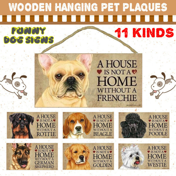 11 Kinds Of Funny Dog Signs Wood Plaque Pet Hanging Plaques Gift Home Decor Sign $4.92