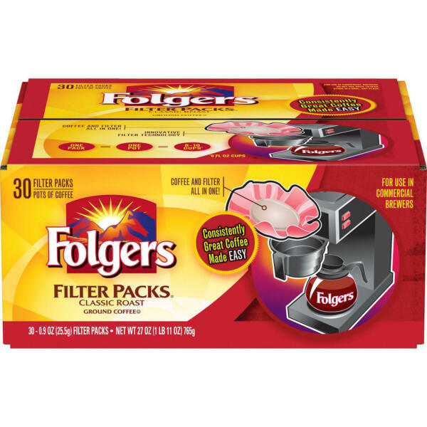 Folgers Filter Packs Coffee Classic Roast .9 oz. packs 30 ct. FREE SHIPPING