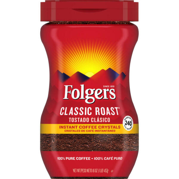 Folgers Classic Roast Instant Coffee Crystals 16 oz. FREE SHIPPING $11.73