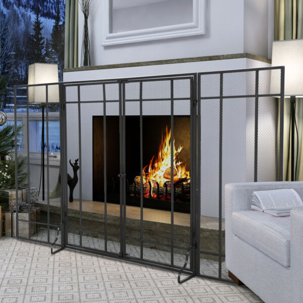HOMCOM 3 Section Fireplace Screen Flame Protection with Magnetic Latch Black