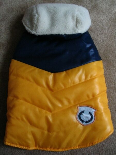 OLD NAVY DOG SUPPLY Unisex Gold Navy Puff Detachable Hood Vest Med 17quot; 19quot; $10.99
