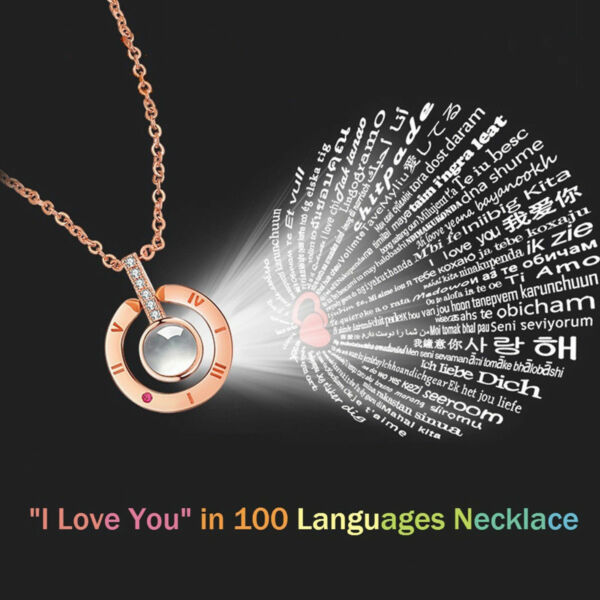 Womens Necklace Light Projection 100 Languages I Love You Pendant Jewelry Gift