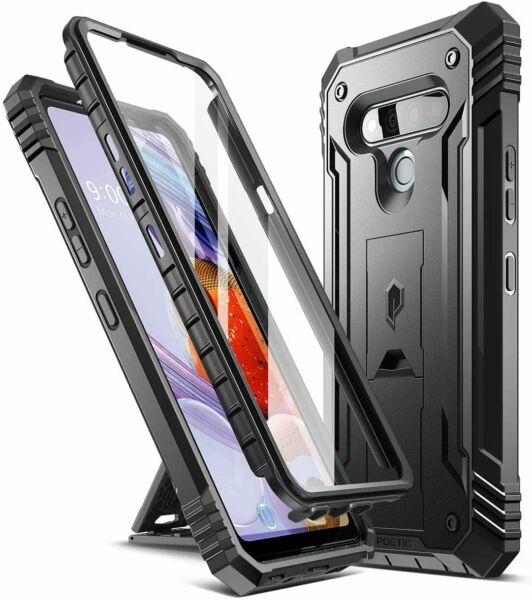 LG Stylo 6 Case,Poetic with Kick stand Armor Heavy Duty Shockproof Cover Black $14.95