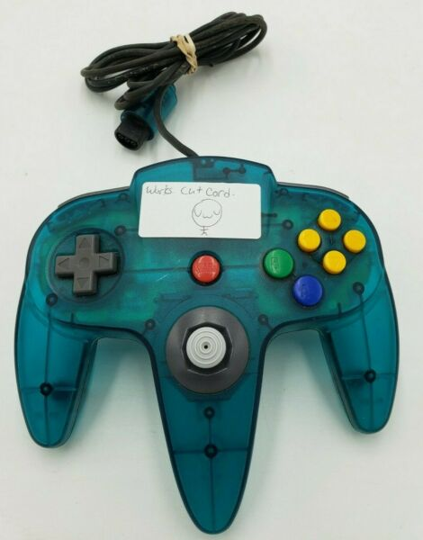 Official Nintendo 64 Funtastic Ice Blue Controller Works Cut Cord $32.99
