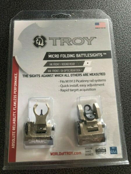 Troy Industries Micro HK Style Front and Rear Folding Battle Sight FDE