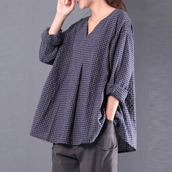 Vintage Womens Flax 3 4 Sleeve V Neck Cotton Linen Loose Tunic Shirt Top Blouse $19.90