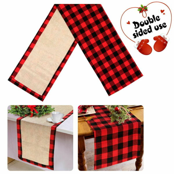 Buffalo Plaid amp; Burlap Christmas Table Runner Reversible Christmas Table Decor