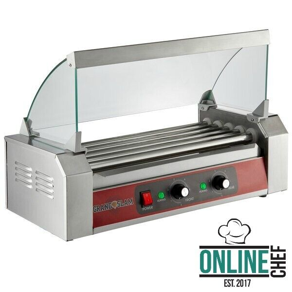 12 Hot Dog Roller Grill With 5 Rollers Sneeze Guard Slanted 110 Volts 750 Watts $114.58