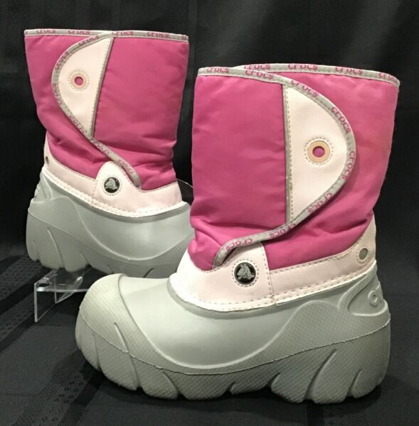 Girl#x27;s CROCS Pink Gray Lightweight Snow Boots w Warm Lining Youth Size J3
