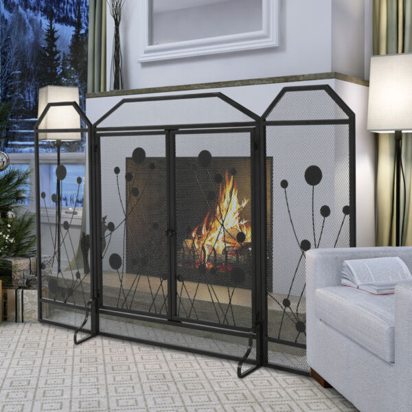 HOMCOM Multi Panel Fireplace Screen Home Spark Shield with Magnetic Doors Black