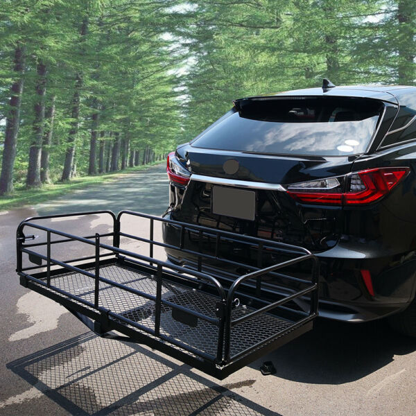 Folding Hitch Mount Cargo Carrier 60quot;X24.4quot;X13.8quot; SUV Luggage Rear Tray Rack $259.99