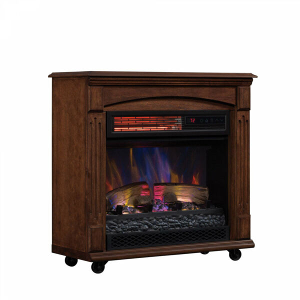 Electric Fireplace Infrared Quartz Heater LED Flame Freestanding Remote Control