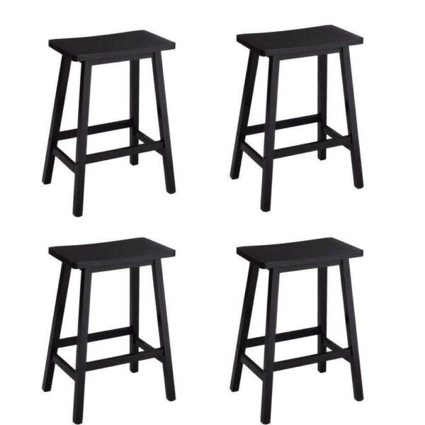 Lot 4 Bar Stools Home Kitchen Dining Room Saddle Seat Wooden Pub Chair Black